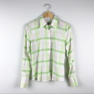 0039 italy Green Plaid Button Down Shirt Size S